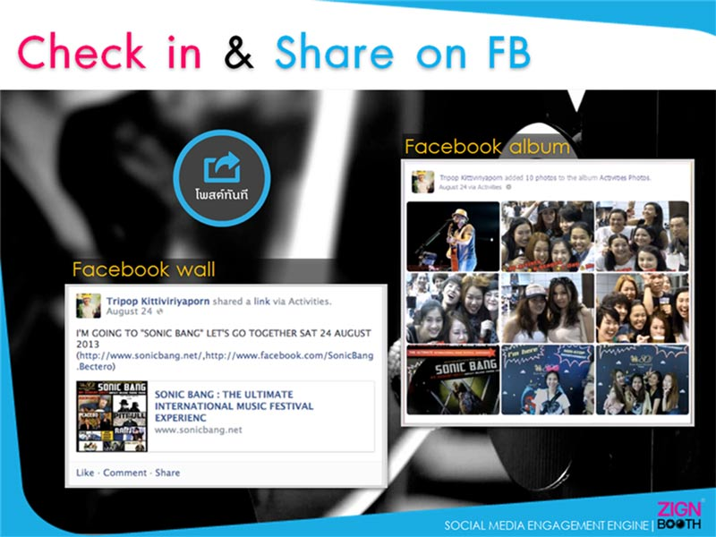 Check in & Share on FB